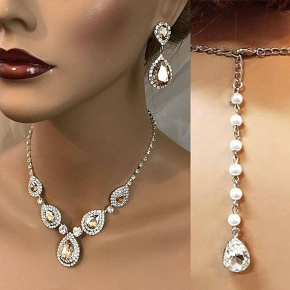 aac0eb9dc Champagne Australian Crystal Bridal Jewelry Set. Boutique. Glam Duchess